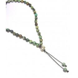 Sautoir Ethnique Turquoise Verte - Mala Pierres Naturelles et Argent 925