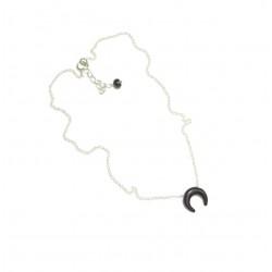 Collier Croissant de Lune - Argent 925 et Onyx