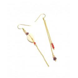 Boucles d'oreille Asymétriques - Pierres  et Cauri