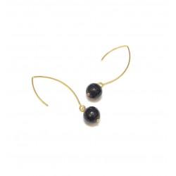 Boucles d'oreille Dorées Onyx Noir