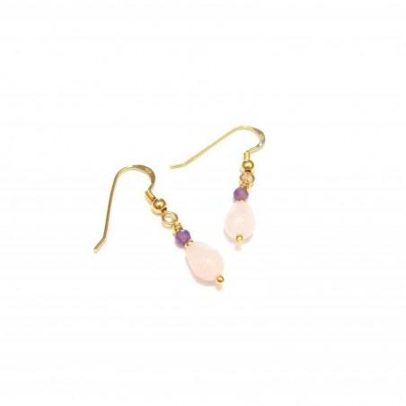 Boucles d'oreille Quartz Rose et Améthyste