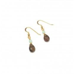 Boucles d'oreille Quartz Fumé et Amazonite