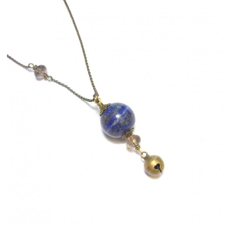 Bijoux de Grossesse - Sautoir Bola Ethnique - Pierres Naturelles, Lapis-Lazuli