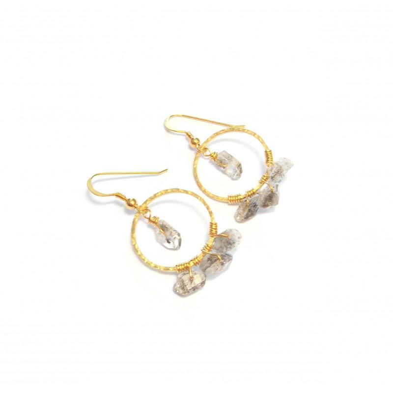 Boucles d'Oreille Créoles Quartz Diamant
