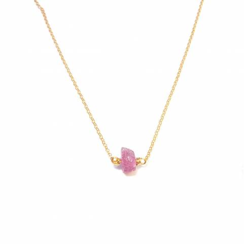 Collier Pierres Brutes - Saphir Rose