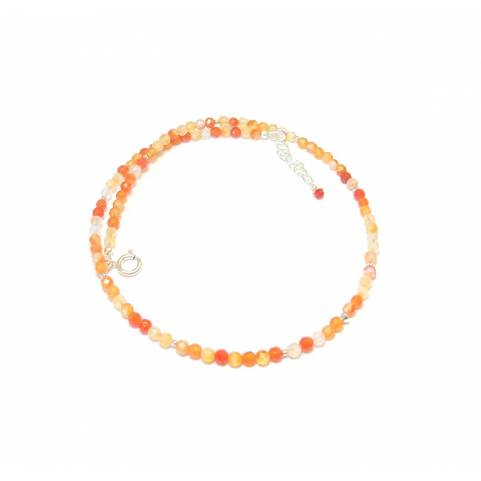 Collier en Pierres Naturelles et Argent 925 - agate orange