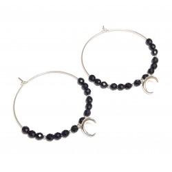 Créoles Croissant de Lune et Onyx Noir