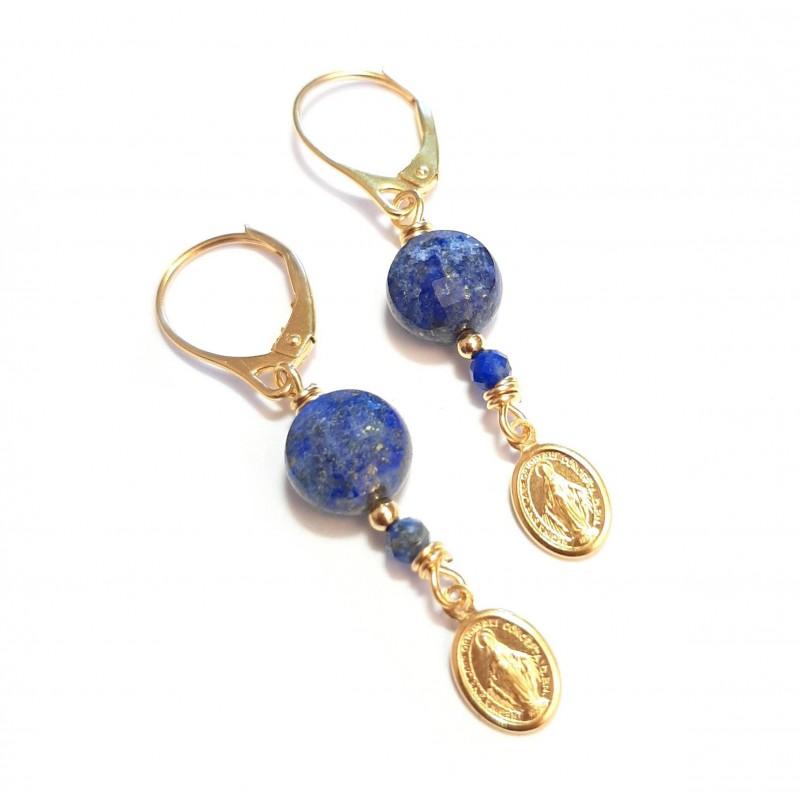 Boucles d'Oreilles Madone Lapis-Lazuli