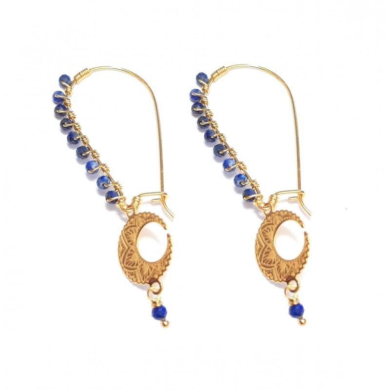 Boucles d'Oreilles Mandala Lapis-Lazuli