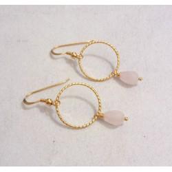 Boucles d'Oreille Créoles - Quartz Rose