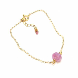 Bracelet Pierres Brutes - Saphir Rose