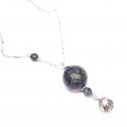Bijoux de grossesse - Sautoir Bola - Argent 925 et Pierres Naturelles, Labradorite et Onyx Noir