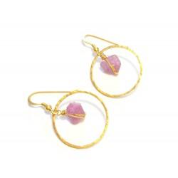 Boucles d'Oreille Créoles Saphir Rose