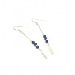Boucles d'oreille Plumes,  Argent 925 et Lapis-Lazuli