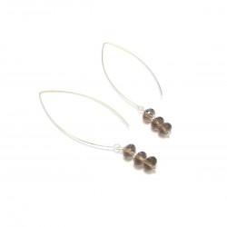 Boucles d'oreille en argent et pierres fines - Quartz Fumé